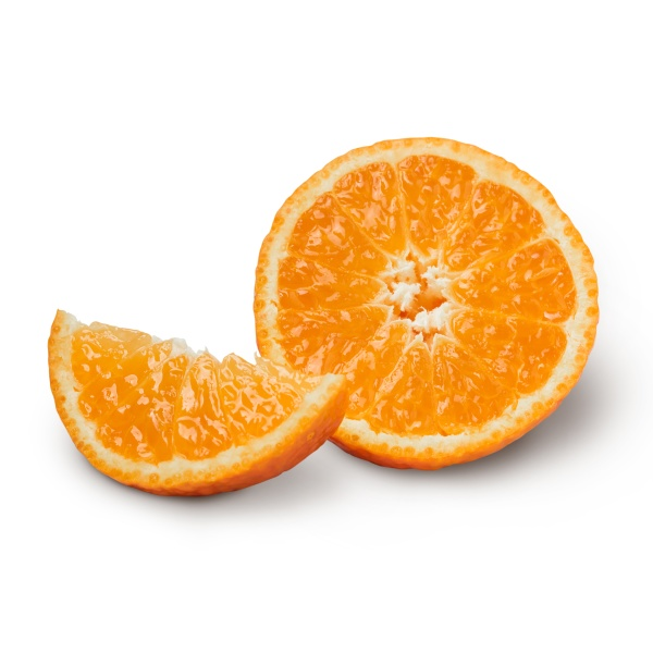fresh orange with orange slices isolated