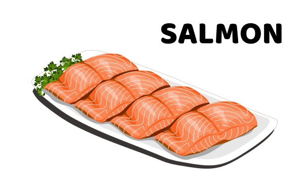 a dish of sliced salmon on