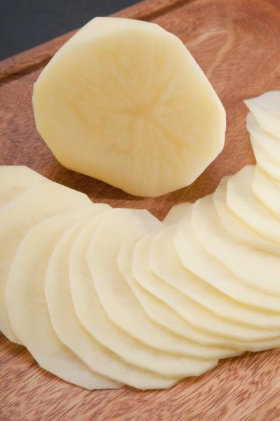 closeup of potato slices