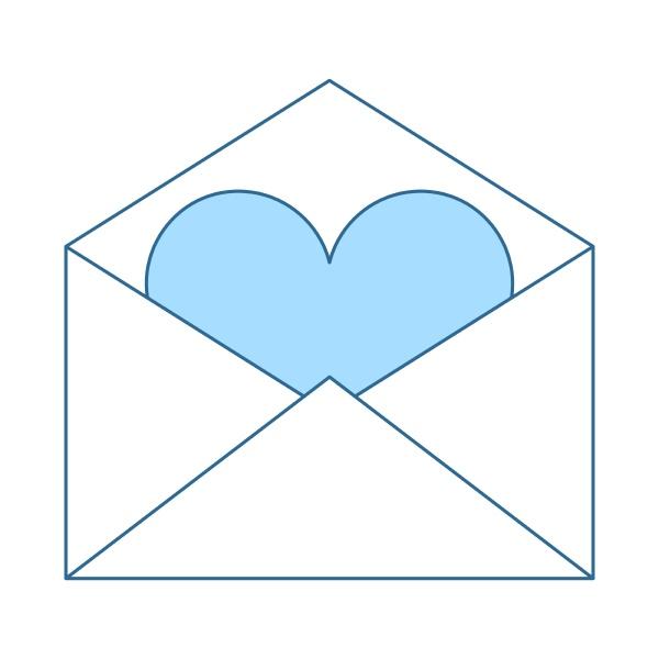 valentine envelop with heart icon