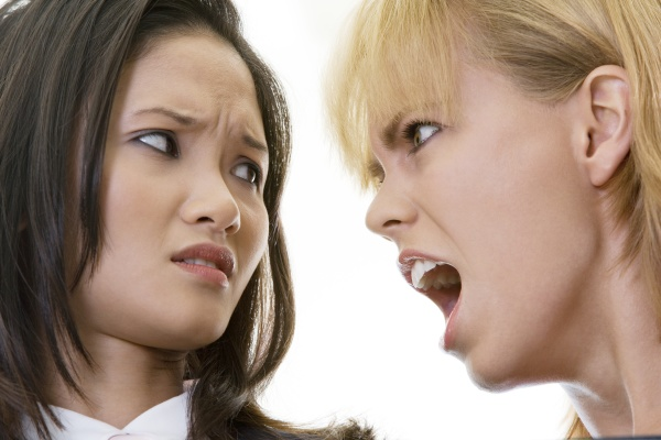 close up of a businesswoman scolding