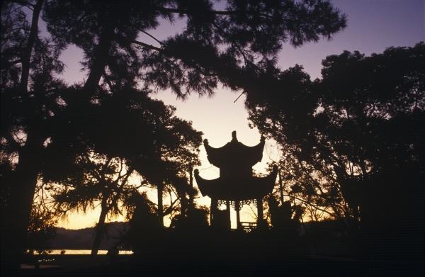 silhouette of a shrine china