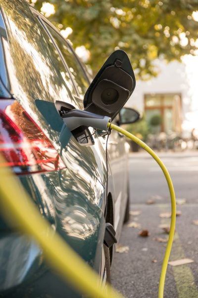charching an electric car with power