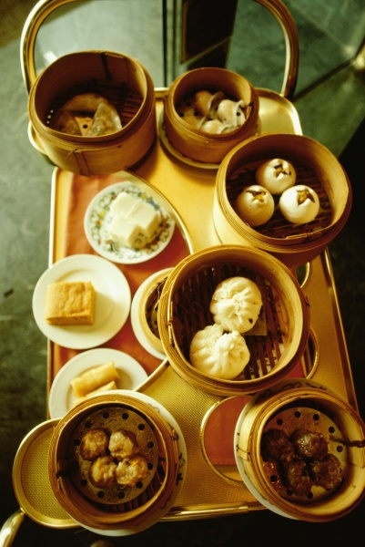 high angle view of dim sum