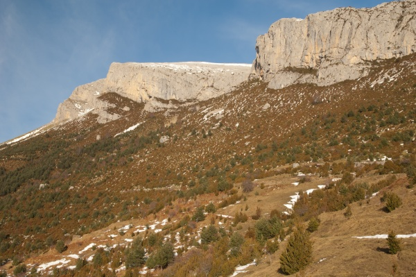 cliffs and slope in the pyrenees