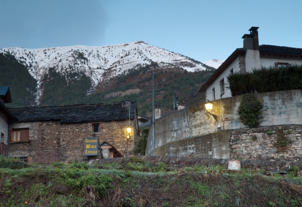 village of torla and snowy mountain