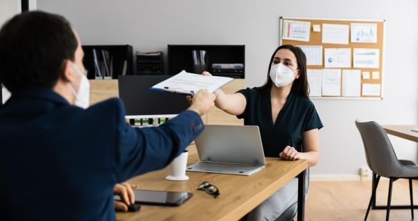 business job interview wearing face mask