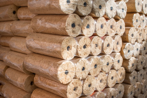 fire briquettes for heating stacked