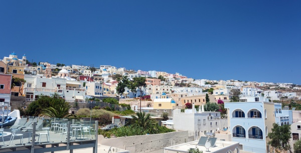 typical residential landscape of fira santorini