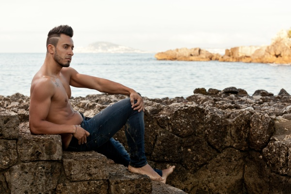 handsome muscular man on the beach