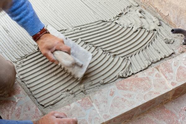 tiler works with flooring