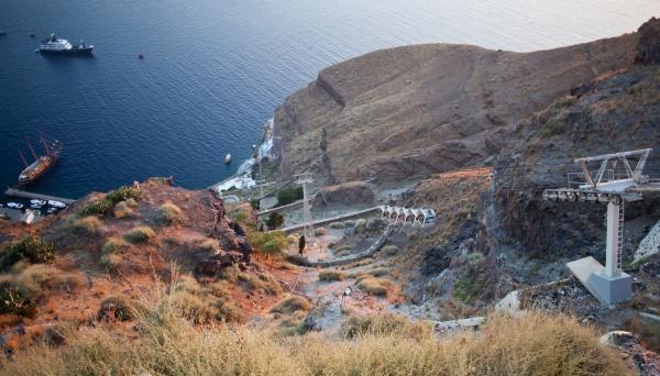 cablecar in fira santorini greece