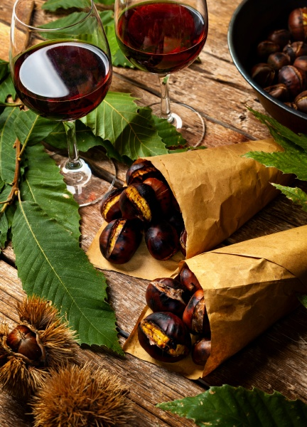 roasted chestnuts in paper cones