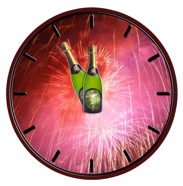 clock with bottle of champagne waiting