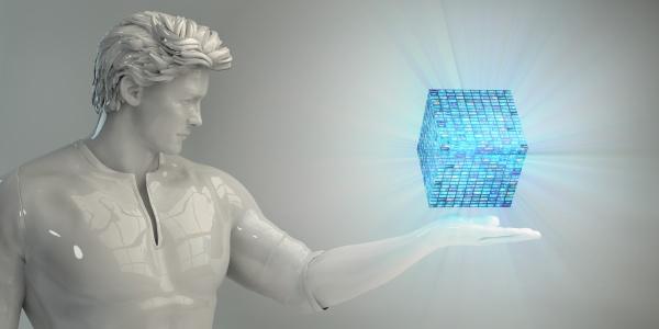 business man analyzing data
