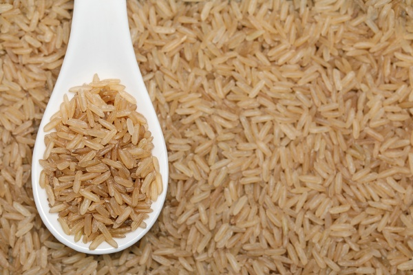 natural brown whole grain rice in