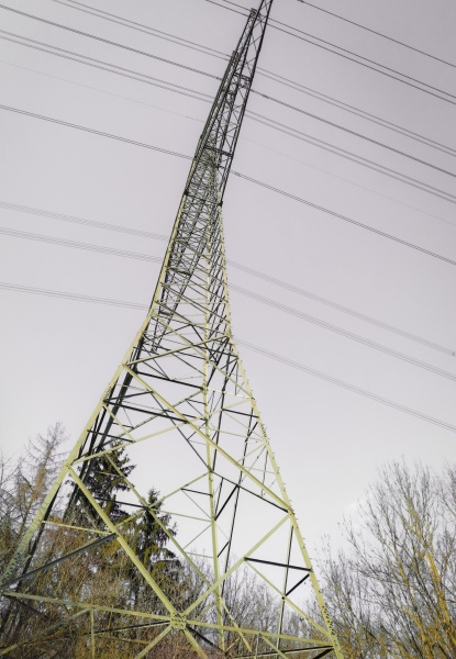 overhead power line low angle shot