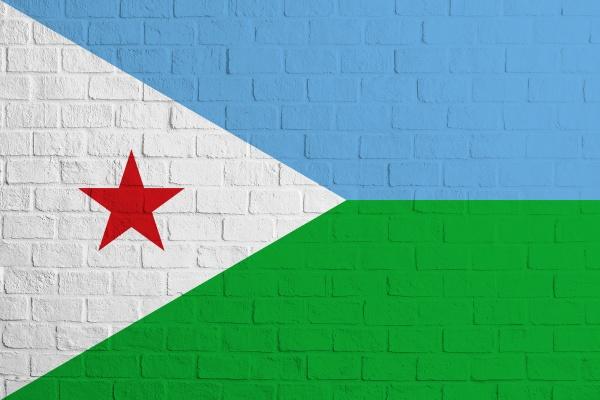 flag of djibouti brick wall texture