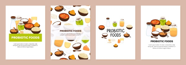 set of backgrounds with probiotic foods