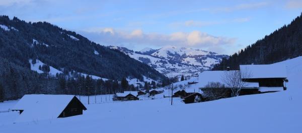 saanenland valley at sunset