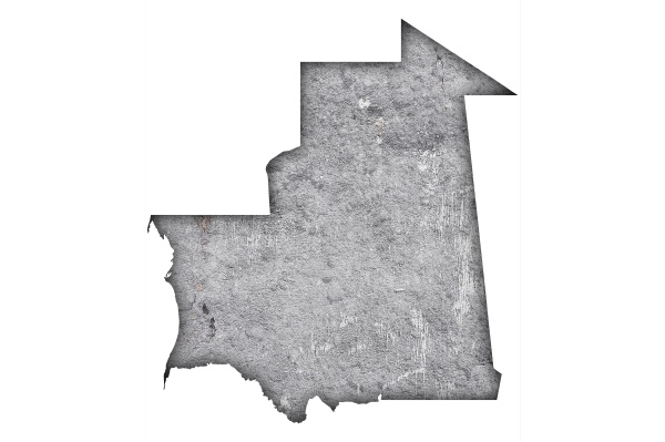 map of mauritania on weathered concrete