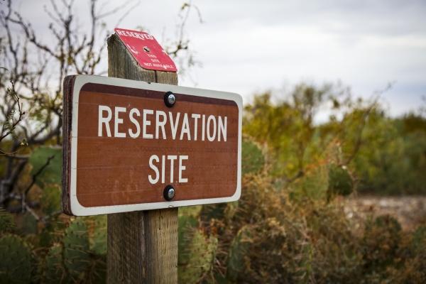 reservation sign at campground oliver lee