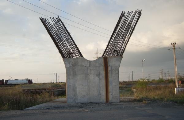unfinished construction of a bridge pier