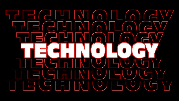 technology red lettering with