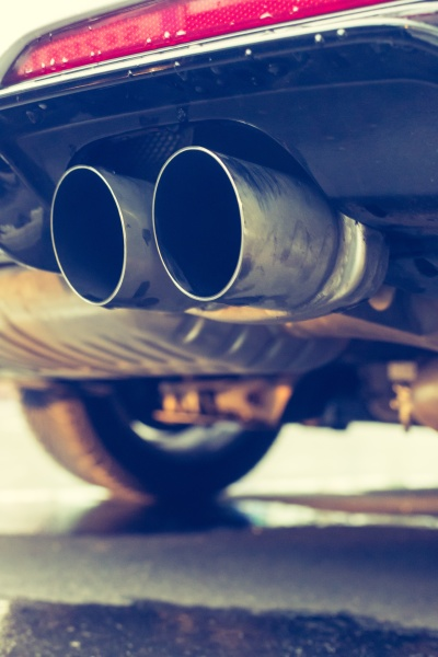powerful car with exhaust pipe pollution