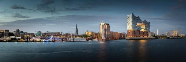 panorama of the hamburg harbour near