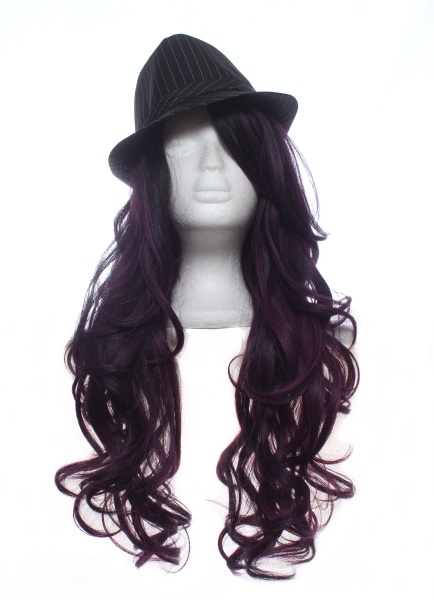 black and red long wig