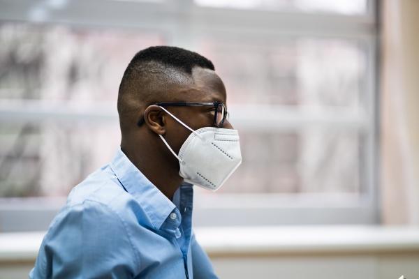 african american man wearing face mask