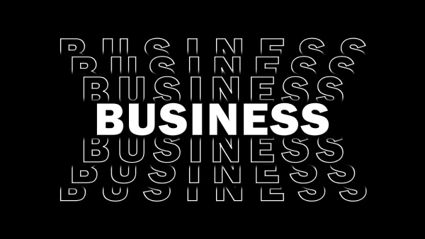 business red lettering with