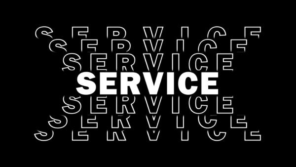 service white lettering with