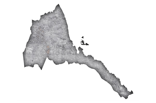 map of eritrea on weathered concrete