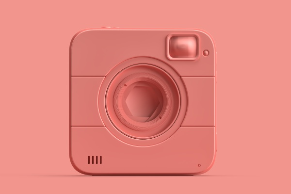 minimalistic illustration of squared instant camera