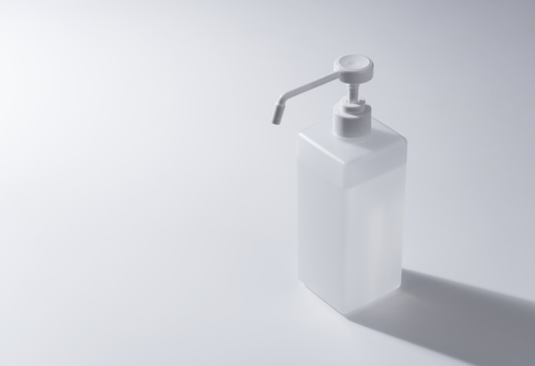 bottle of alcohol sanitizer spray placed