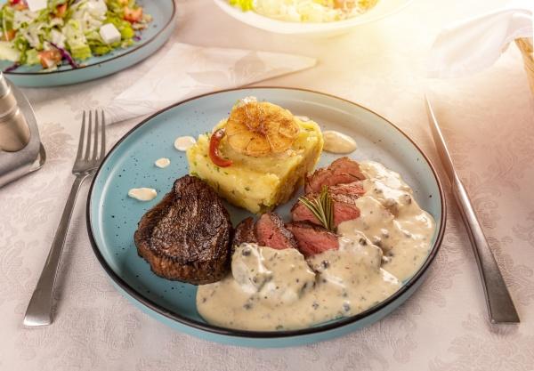 pork steak with potato gratin