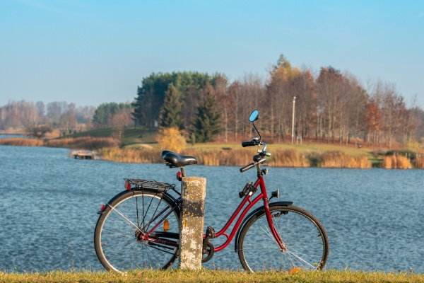 stationary bicycle on cycle path with