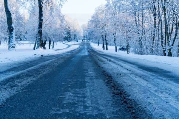 winter dirty road without cars