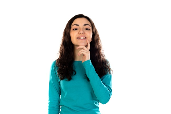 adorable teenage girl with blue sweater