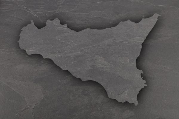 map of sicily on dark slate
