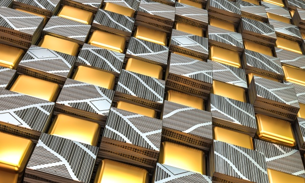 geometric gold and steel background in