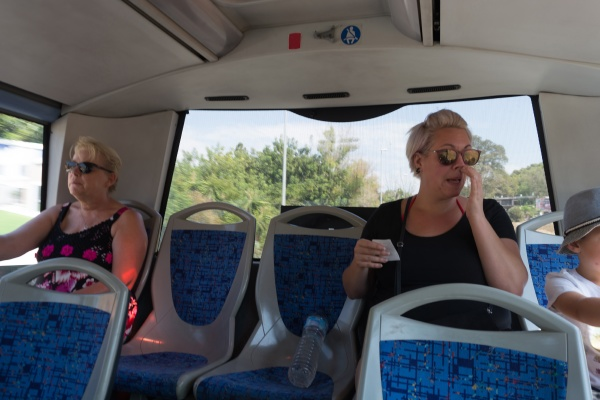 tourists in travel bus