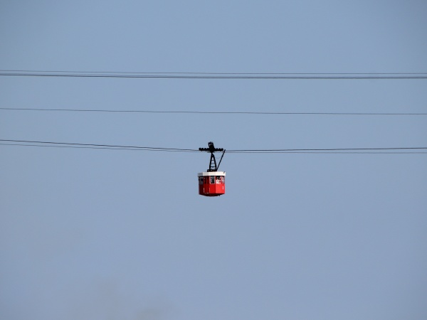 isolated cable car in barcelona with