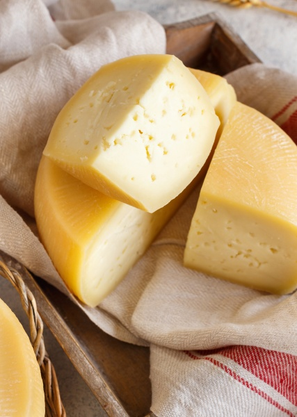 pieces of fresh homemade cheese