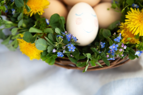 beautiful spring bouquet in a wooden