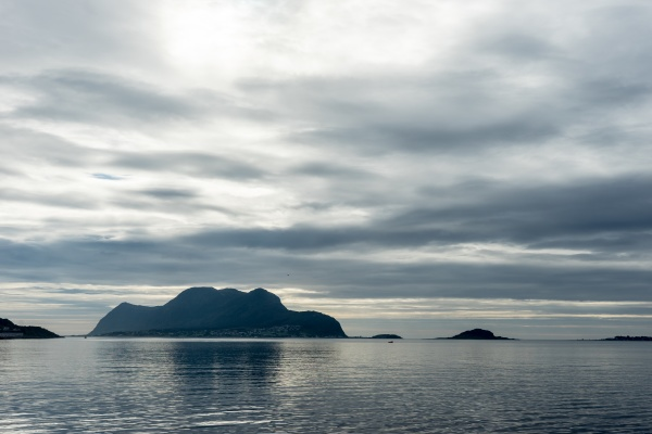 midnight sun in the fjord of