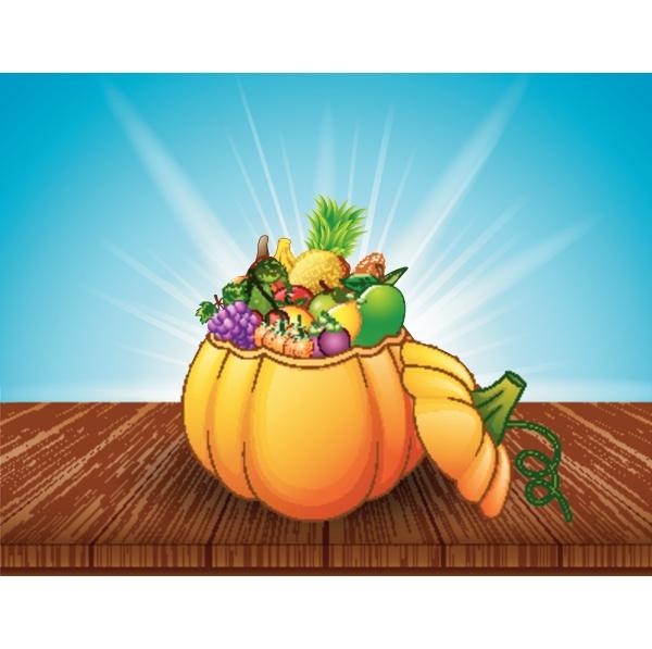 pumpkin basket full of fruits and