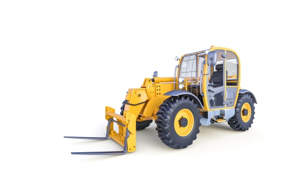 big forklift on the white background